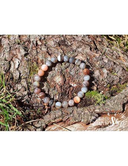 Bracelet Agate Botswana – Pierre de Paix – Qualité A+ – Boule 8mm