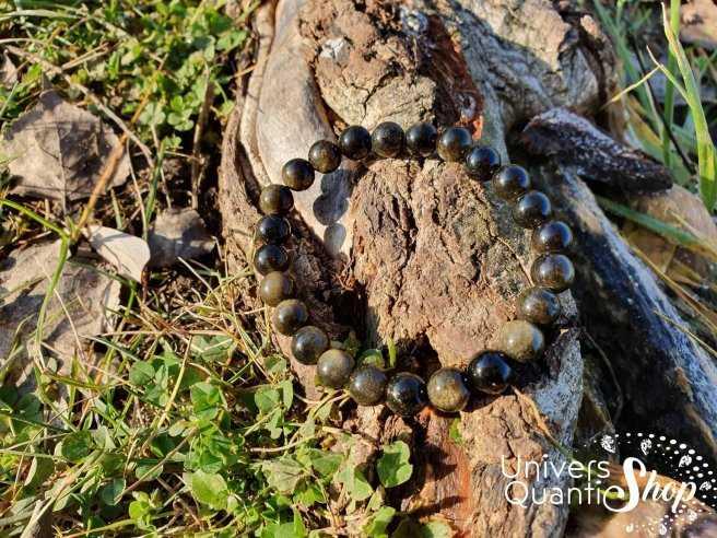 Bracelet Obsidienne Dorée – Pierre d'Introspection – Qualtié A – Boule 8mm