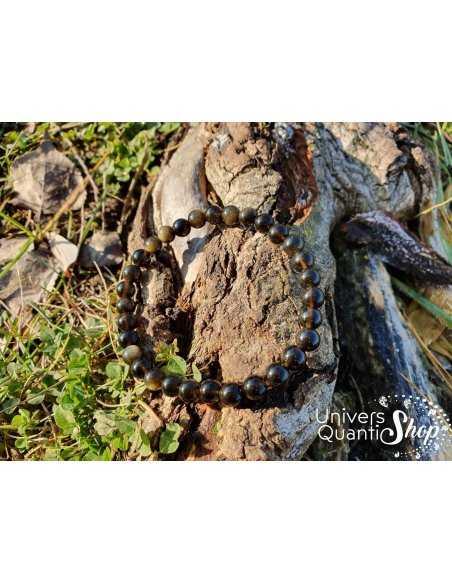 Bracelet Obsidienne Dorée – Pierre d'Introspection – Qualité A – Boule 6mm