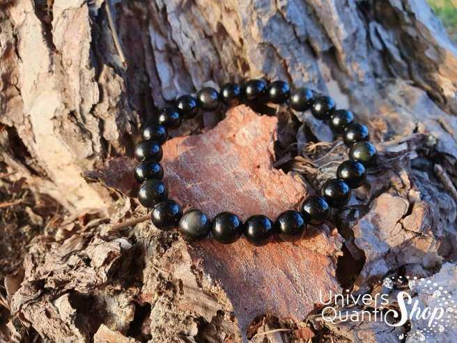 Bracelet Obsidienne Oeil Céleste – Pierre de la Connaissance – Qualité A – Boule 8mm