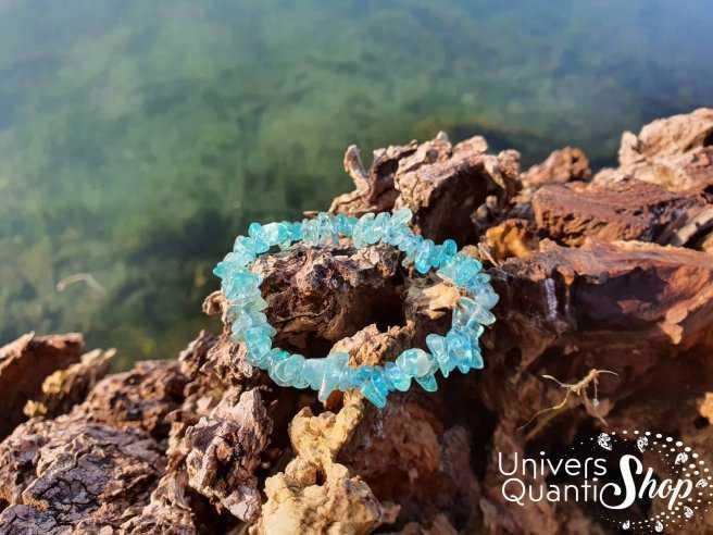 Bracelet apatite bleue – pierre de l'affirmation – qualité AA – Baroque