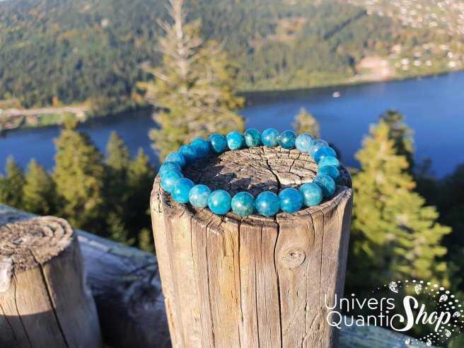 Bracelet Apatite Bleue – Pierre de l'Affirmation – Qualité A+ – Boule 8mm