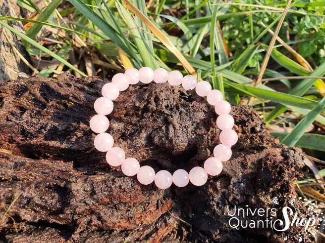 Bracelet Quartz Rose – Pierre de l'Amour – Qualité A – Boule 8mm