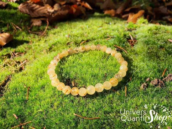 Bracelet Cristal de Roche Rutile – Pierre de Puissance – Qualité AB – Boule 6mm
