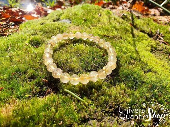 Bracelet Cristal de Roche Rutile – Pierre de Puissance – Qualité AB – Boule 8mm