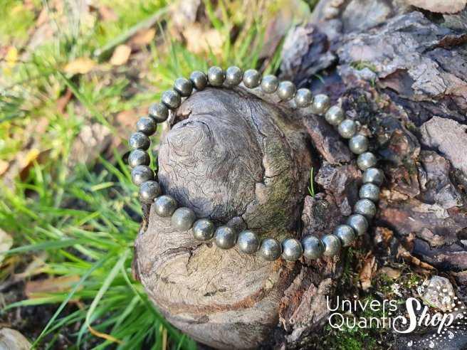 Bracelet Pyrite Naturelle – Pierre de la Mémoire – Qualité A – Boule 6mm