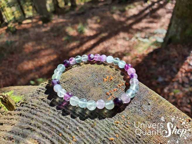 Bracelet Fluorine Multicolore – Pierre de la Concentration – Qualité A – Boule 6mm