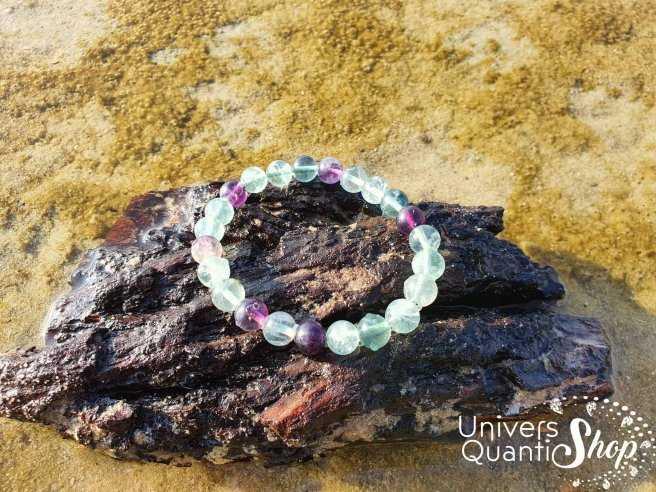 Bracelet Fluorine Multicolore – Pierre de la Concentration – Qualité AB – Boule 8mm
