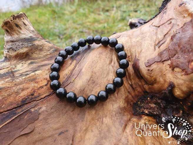 Bracelet Onyx (Agate Noire) – Pierre de Soutien – Qualité A – Boule 8mm