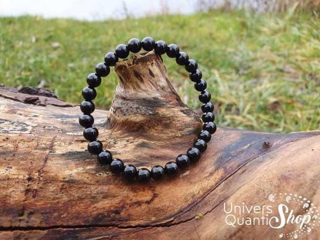 Bracelet Onyx (Agate Noire) – Pierre de Soutien – Qualité A – Boule 6mm