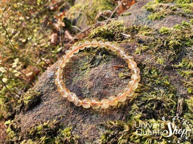 Bracelet Citrine Naturelle – Pierre de la Bonne Humeur – Qualité A+ – Boule 6mm