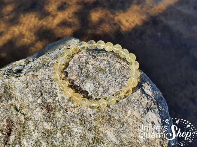 Bracelet Citrine Chauffée – Pierre de Liberté – Qualité AB – Boule 8mm
