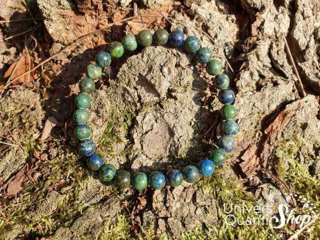 Bracelet Azurite Malachite – Pierre de Ressource – Qualité A – Boule 6mm