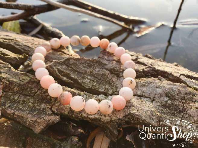 Bracelet Opale Rose des Andes – Pierre de la Cordialité – Qualité A+ – Boule 8mm