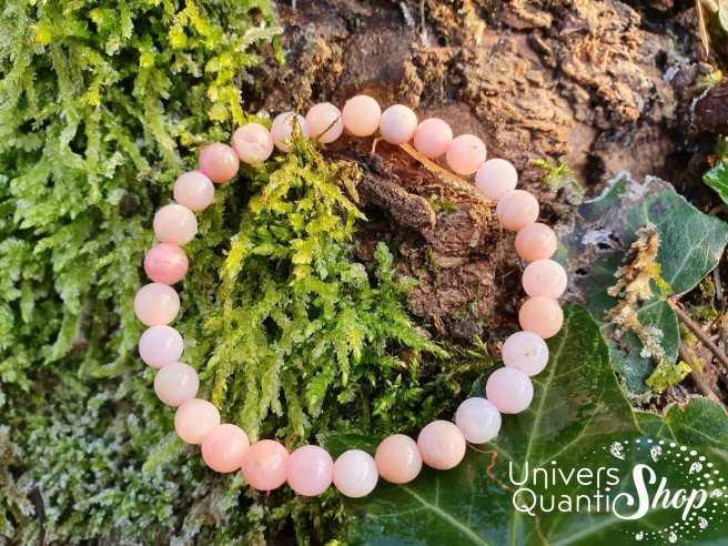 Bracelet Opale Rose des Andes – Pierre de la Cordialité – Qualité A+ – Boule 6mm