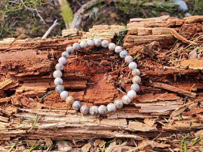 Bracelet Agate Fossile – Pierre de Richesse – Qualité AB – Boule 6mm