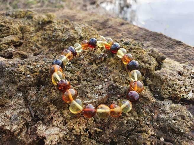 Bracelet Ambre Multicolore – Pierre de Purification – Qualité A – Pierres Roulées