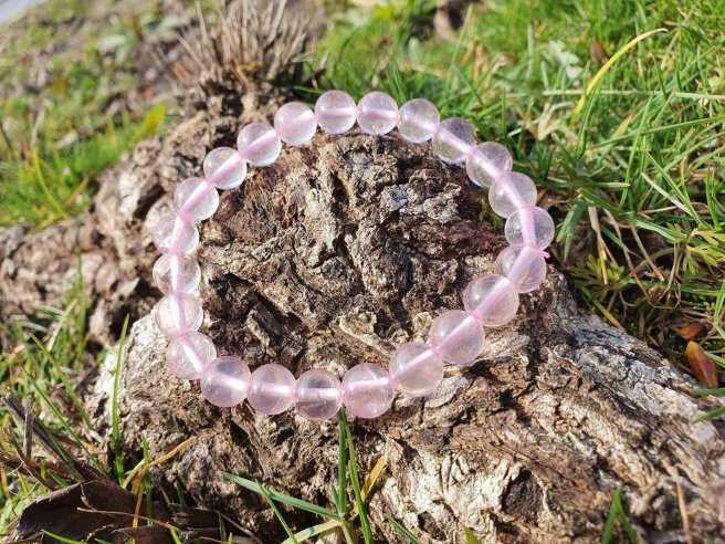 Bracelet Quartz Rose – Pierre de l'Amour – qualité AA – Boule 8mm
