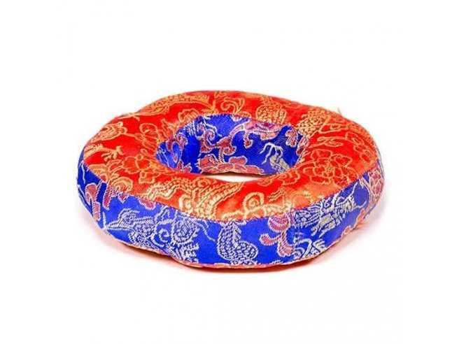 Coussin Anneau pour Bol Chantant Tibétain – Coton Brodé Rouge et Bleu