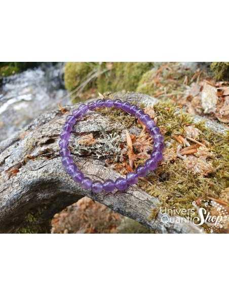 Bracelet Améthyste – Pierre de Sagesse – Qualité A – Boule 6mm