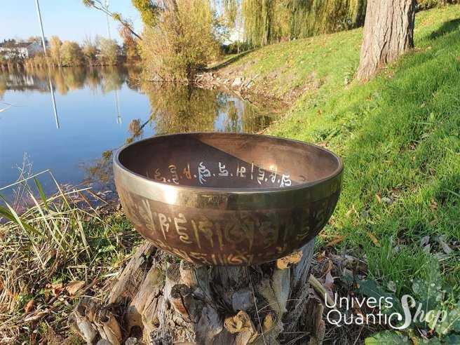 """Bol Chantant Tibétain """"Bouddha Médecine Gravé Main"""" aux 9 métaux – 25,5 cm / 1915 grs vude de face"""