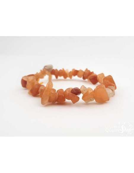 Bracelet en fragments d'aventurine orange - Pierre du bien-être