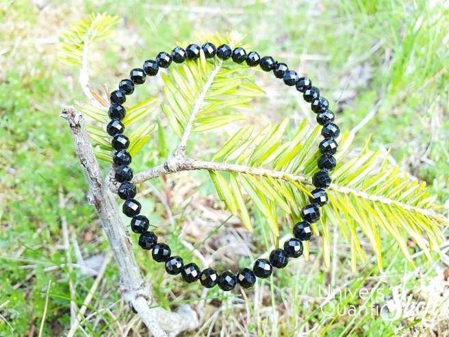 Bracelet Spinelle Noire – Pierre de Haute Protection – Qualité A – Boule 4mm facettée