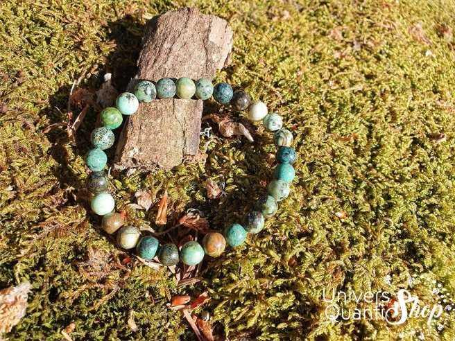 Bracelet Turquoise d'Afrique – Pierre de Transformation – Qualité A – Boule 6mm