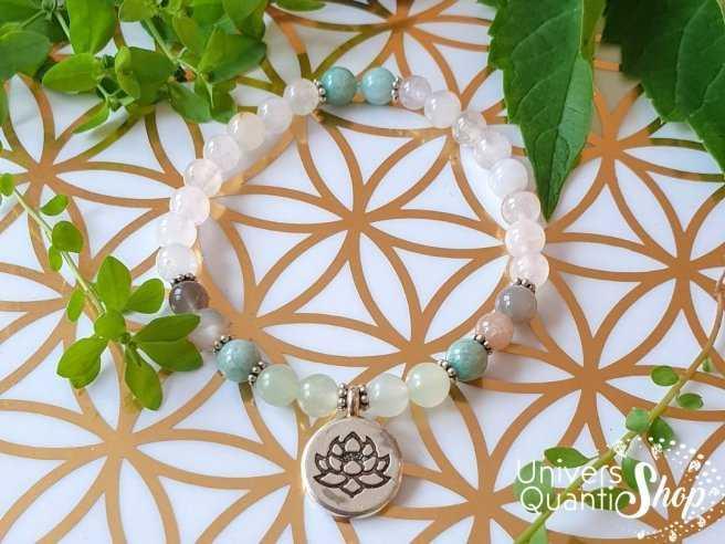 Bracelet création amour et tendresse Univers Quantic Shop - Lithothérapie et bien-être
