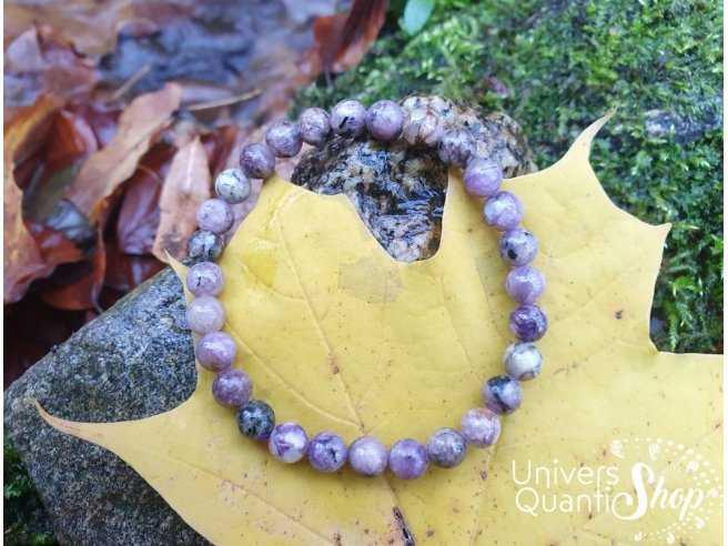 Braceleten pierre  charoïte, pierre de Métamorphose de qualité A  taille 6mm