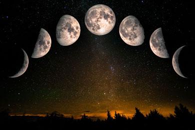 les phases lunaires et les bols tibétains : l'argent et la lune associé au lundi