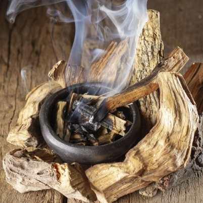 Palo Santo qui brûle dans un bol