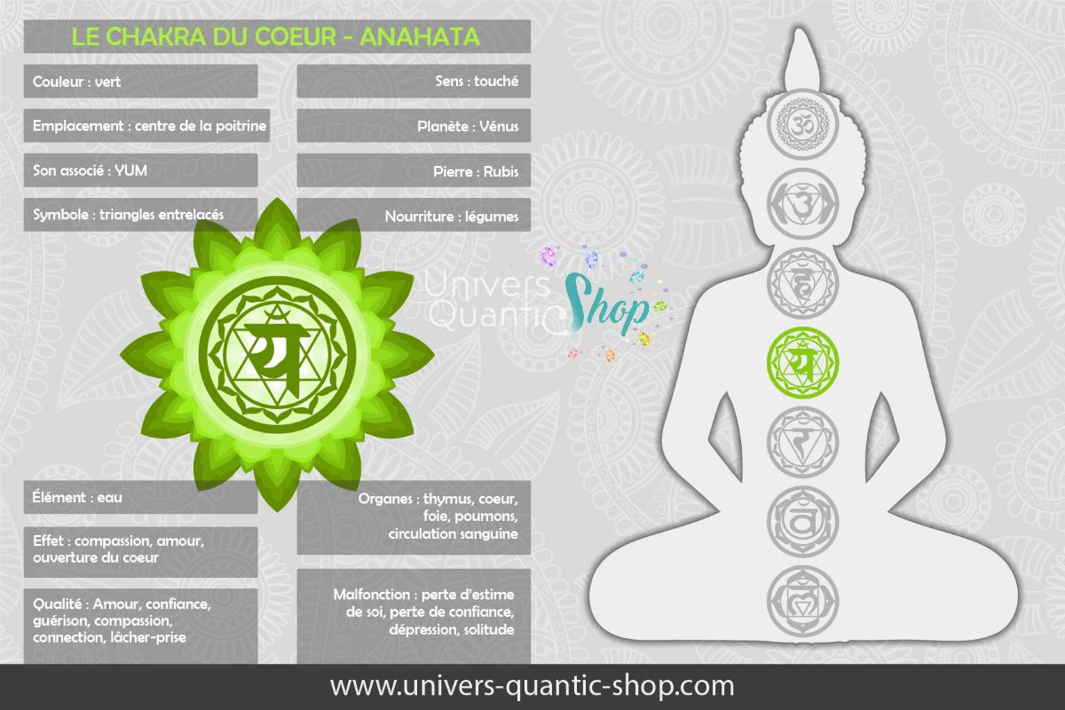 signification et informations sur le chakra du coeur - anahata