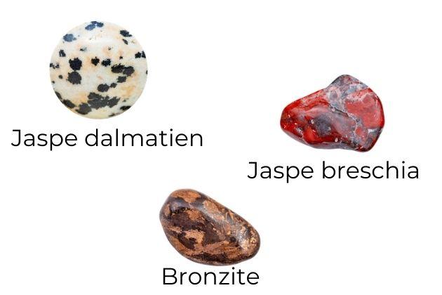"""assemblage des pierres jaspe breschia jaspe dalmatien et bronzite pour les effets des pierres du bracelet création consciente femme """"sexualité sacrée"""""""